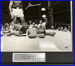Muhammad Ali Signed Custom Framed 16x20 Photo Autographed Stacks of Plaques