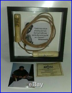 Muhammad Ali signed skipping rope framed with photo and coa proof. Rare