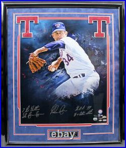 NOLAN RYAN SIGNED AUTOGRAPHED 20X24 PHOTO FRAMED With 4 INSCRIPTIONS MLB FANATICS