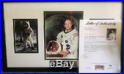 Neil armstrong Signed Autograph Photo Framed Authenticated By PSA DNA No. AD02356