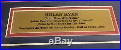 Nolan Ryan Signed Rangers Framed 8x10 Photo Fight Punch Robin Ventura JSA COA