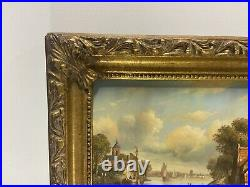 Oil Painting on Panel Dutch Village Scene Signed Harrig Wood Picture Frame