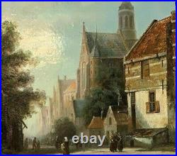 Oil painting Dutch Street Scene Signed David Ronald framed picture