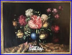 Original Oil On Canvas Painting Still Life Picture Flowers In Vase Péter Kloton