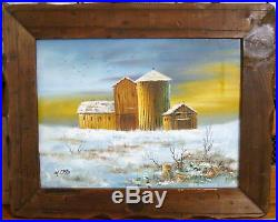 Otto Oil Painting Farm Marine Harbour Sunset 15x11 Signed Framed Art Picture