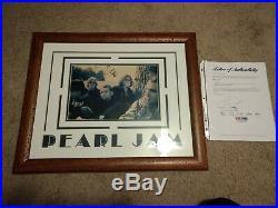 Pearl Jam Signed Autographed Eddie Vedder Custom Framed Photo All 5! Psa! Rare