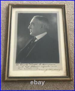 President Warren G. Harding Harris & Ewing Photo Signed Framed To A Senator