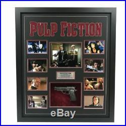 Pulp Fiction John Travolta Samuel Jackson Hand Signed Framed Photo With Gun