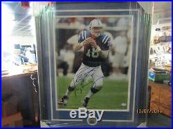 RARE Peyton Manning Signed Huge 16X20 Custom Framed COLTS Brand New Authentic