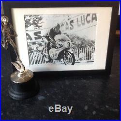 Rare Hand signed mike hailwood framed photo On the Honda six