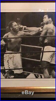 Rare Muhammed Ali and Joe Frazier signed large framed picture. Certified