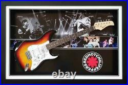 Red Hot Chilli Peppers Signed Framed Electric Guitar Photo Proof & Coa