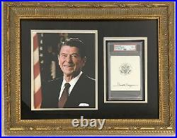 Ronald Reagan Signed Photo 8x10 Bookplate Autograph President PSA/DNA 9 Framed
