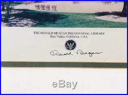 Ronald Reagan Signed Presidential Library Photo Framed
