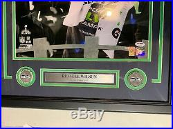 Russell Wilson Autograph Signed Seahawks Super Bowl 16x20 Photo Framed PSA/DNA
