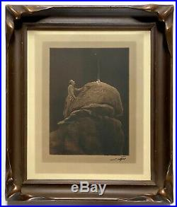 SIGNED Edward Curtis Silver Border Photo Signal Fire Mountain Gods Batwing Frame
