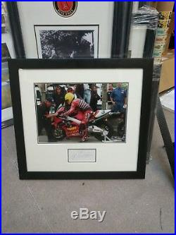 SIGNED JOEY DUNLOP framed and mounted