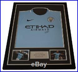Sergio Aguero SIGNED FRAMED Shirt Photo Autograph Manchester City Football COA