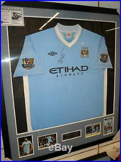 Sergio Aguero Signed Manchester City Jersey Framed + Photo Proof & C. O. A