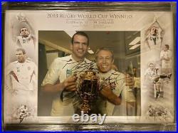Signed Framed Jonny Wilkinson Martin Johnson England 2003 Rugby World Cup Photo