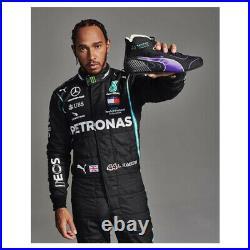 Signed Lewis Hamilton Photo & F1 Puma Boot Framed 2020 Display Mercedes F1