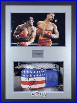 Signed Sylvester Stallone Rocky IV Boxing Glove & Movie Photo In Frame