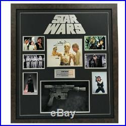 Star Wars Hand Signed Framed Photo With Blaster Gun Mark Hamill Skywalker Vader