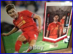 Steven gerrard framed signed pennant photo display coa liverpool fc Father's Day