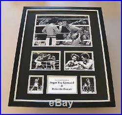 Sugar Ray Leonard & Roberto Duran Signed Photo Large Framed Boxing Display COA