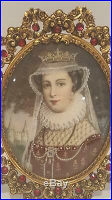 Superb Antique Miniature Painting Fine Jeweled Lady / Red Jeweled Picture Frame