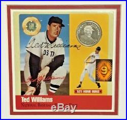 Ted Williams Signed 500 Hr. 999 Silver Coin Auto Green Diamond Steiner Framed