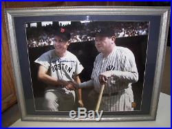 Ted Williams Signed Autograph Baseball Photo Babe Ruth Framed COA Green Diamond