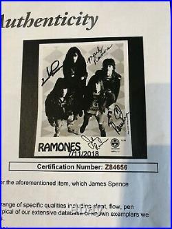 The Ramones Signed 8x10 Framed JSA Letter Autographed
