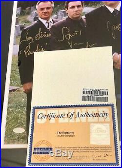 The Sopranos Cast Signed 16x20 Photo Framed Steiner Coa Autograph Gandolfini +4