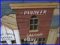 Theodore Degroot Old Town Picture Wooden Inlay Folk Art Signed Vintage Rare