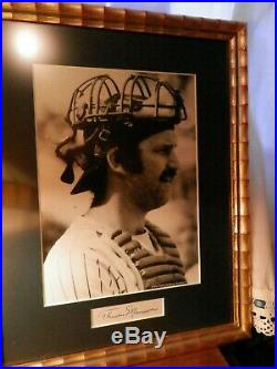 Thurman Munson signed cut signature framed