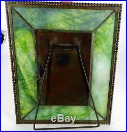 Tiffany Studios New York 17 Pine Needle Bronze Green Slag Glass Picture Frame