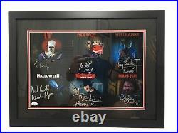 Tim Curry, Robert Englund, Nick Castle +3 Signed 12x18 Photo Framed JSA LOA