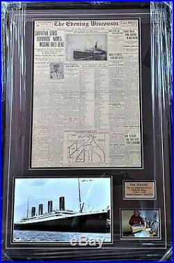 Titanic Original 1912 Newspaper And Survivor Signed Photograph Framed