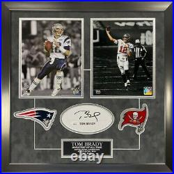 Tom Brady Signed Autographed Cut Custom Framed to 16x20 with Patches Pats Bucs JSA