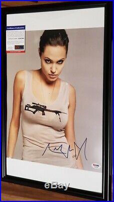 Tomb Raider Angelina Jolie signed 12x18 Photo PSA DNA (Framed)