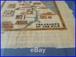 Treasures of the Nile Egypt Hand Painted Map Picture Framed Cairo Sinai Signed
