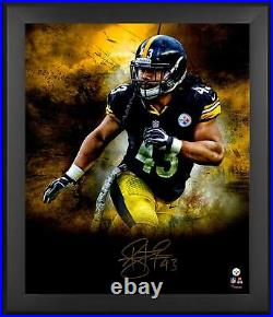 Troy Polamalu Pittsburgh Steelers Framed Signed 20 x 24 In Focus Photograph