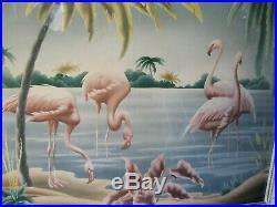 Turner Flamingo Print Mid Century Modern Framed Vintage Tropical Picture