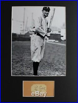 Ty Cobb (d. 1961) Autograph Signed Cut 8x10 Photo and Matting Ready to Frame