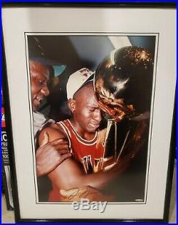 UDA Michael Jordan Signed 19x25 Framed Crying Trophy 1st Championship Bulls RARE