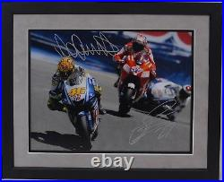 Valentino Rossi And Casey Stoner Hand Signed Motogp Framed Photo Display Proof