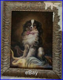 Very Old Oil On Canvas Painting, Unsigned, framed, frame damaged as on photo