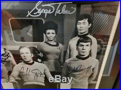 Vintage Authentic 9 Cast Signed RARE Star Trek Framed Photograph w COA
