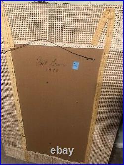 Vintage Framed Danish Signed Hanging Rya Shag Rug Picture Brown Waves Circle